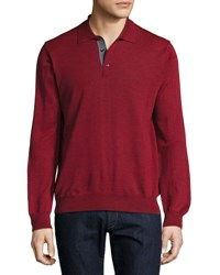 Neiman Marcus Rio Long Sleeve Polo Sweater Rio Red