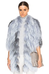 J. Mendel Silver Fox Lace Inset Coat In Blue Ombre And Tie Dye