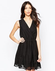 Lavand V Neck Skater Dress With Lace Hem Black