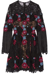 Elie Saab Fringed Embroidered Cotton Blend Tulle Mini Dress Black