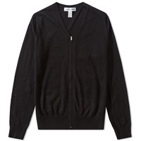 Comme Des Garcons Shirt V Neck Zip Cardigan Black