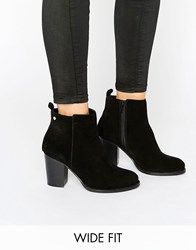 Faith Wide Fit Zip Suede Heeled Ankle Boots Black Cow Suede