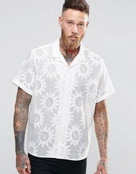Asos White Shirt In Burntout Flower Print With Revere Collar In Regular Fit White