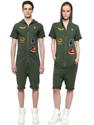 Onepiece French Terry Cotton Aviator Jumpsuit