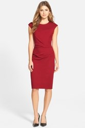 Betsey Johnson Ruched Ponte Sheath Dress Red