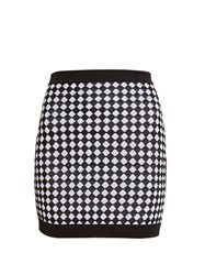 Balmain Diamond Knit Mini Skirt Black White
