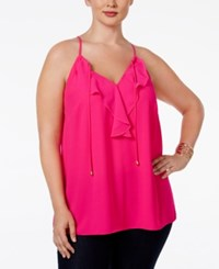 Inc International Concepts Plus Size Ruffled Chiffon Halter Neck Blouse Only At Macy's Intense Pink