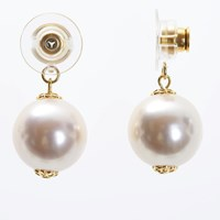 Chrysmela Infinity Earring Jacket With Swarovski Crystal Pearls Snow White Gold