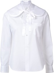 Comme Des Garcons Bow Panel Button Down Shirt White