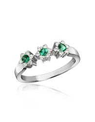 Incanto Royale 18K Gold Emerald And Diamond Trilogy Flower Ring Silver