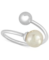 Majorica Silver Tone Imitation Pearl Bypass Ring