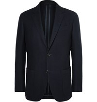 Ermenegildo Zegna Blue Slim Fit Wool And Cashmere Blend Blazer Midnight Blue