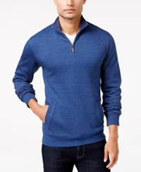 Club Room Men's Quarter Zip Sweater Only At Macy's Chambray Blue