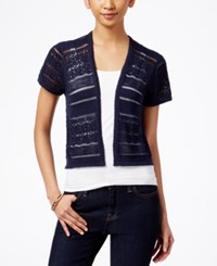 Styleandco. Style And Co. Short Sleeve Open Knit Cardigan Only At Macy's Industrial Blue