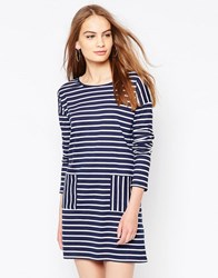 Daisy Street Shift Dress In Stripe Navy White Black