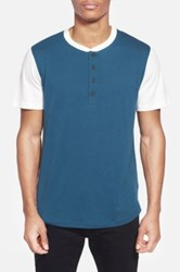 Alternative Apparel Cotton And Modal Baseball Henley T Shirt Blue