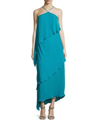 Halston Heritage Asymmetric Tiered Ruffle Halter Gown Teal