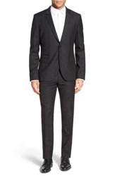 Hugo Boss 'Arti Heibo' Extra Trim Fit Stretch Wool And Silk Suit Black