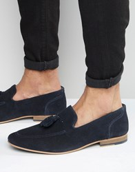 Kg By Kurt Geiger Denton Tassel Loafers In Navy Suede Blue