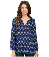 Hatley Pleated Neckline Blouse Mini Arrows Women's Blouse Blue