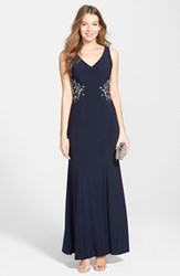 Women's Joanna Chen New York Embellished Sheer Back Jersey Gown