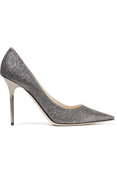 Jimmy Choo Abel Glittered Leather Pumps Anthracite