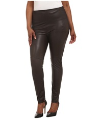 Lysse Plus Size Vegan Leather Leggings Espresso Women's Casual Pants Brown