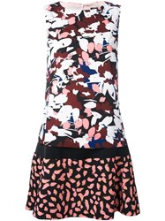 Jil Sander Navy Sleeveless Floral Print Dress Multicolour