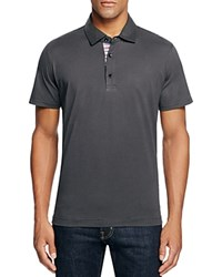 Robert Graham Stoked Stripe Placket Slim Fit Polo Shirt 100 Bloomingdale's Exclusive Charcoal