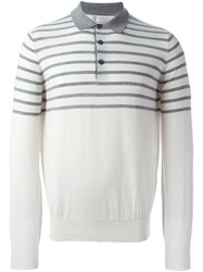 Brunello Cucinelli Striped Polo Sweater White