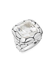 John Hardy Kali White Topaz And Sterling Silver Large Lava Square Ring