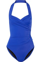 Norma Kamali Mio Ruched Halterneck Swimsuit Bright Blue