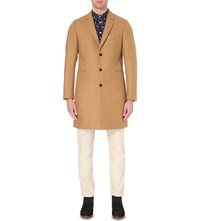 Paul Smith Textured Single Breasted Wool Blend Coat Camel