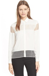 The Kooples Lace Inset Crepe Shirt Ecru