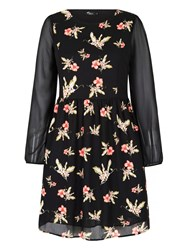 Mela Loves London Floral Print Long Sleeve Dress Black