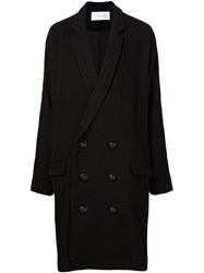 Julien David Long Double Breasted Coat Black