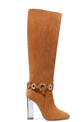 Emilio Pucci Embellished Suede Knee Boots Brown