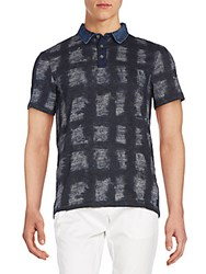 Calvin Klein Jeans Printed Cotton Polo Navy