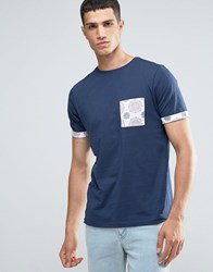 Another Influence Contrast Pattern Pocket T Shirt Navy
