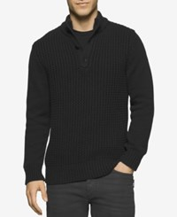 Calvin Klein Jeans Men's Racked Button Sweater Black