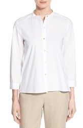 Women's Eileen Fisher Mandarin Collar Organic Cotton Shirt White