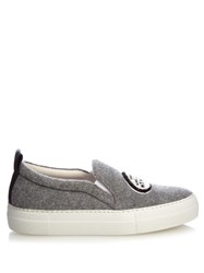 Joshua Sanders Dino Felt Slip On Platform Trainers Grey Multi