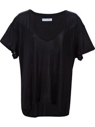 Anine Bing Deep V Neck T Shirt Black