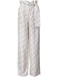 3.1 Phillip Lim Printed Satin Palazzo Pants Nude And Neutrals