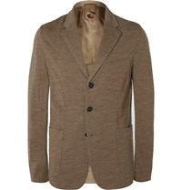 Barena Sand Slim Fit Unstructured Wool And Cotton Blend Blazer Neutrals