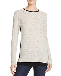 Bloomingdale's C By Color Block Double Crew Cashmere Sweater Light Grey Donegal Black