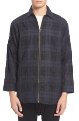 Chapter Trim Fit Front Zip Plaid Shirt Navy Check