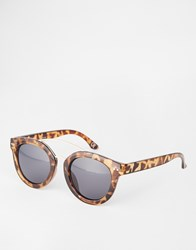 Asos Chunky Round Sunglasses In Tortoiseshell With Rose Brow Bar Brown