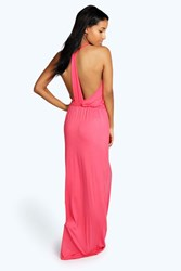 Boohoo Strappy Back Maxi Dress Coral