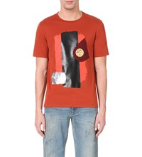 Maison Martin Margiela Collage Party Cotton Jersey T Shirt Rust
